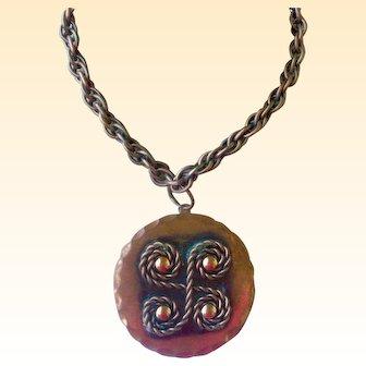 Mid-Century Copper Pendent Necklace by Rebajes
