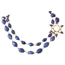 Exceptional Miriam Haskell Blue and White Glass Bead Necklace, Star Clasp Mid-Century Vintage