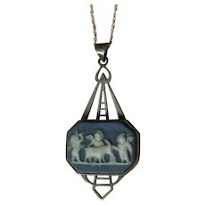 Vintage Pendent Necklace Blue and White Wedgewood, Sterling Silver REDUCED