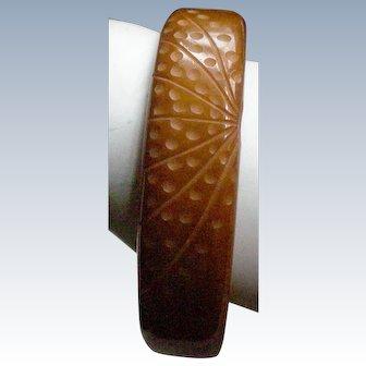Carved Bakelite Bangle Bracelet Butterscotch Color MAKE AN OFFER