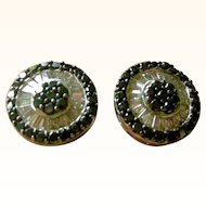 Dazzling  Large Round Stud Earrings Clear and Black Diamonds set in 18K White Gold