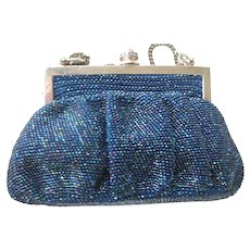 1940's Irridescent Blue Beaded Bag