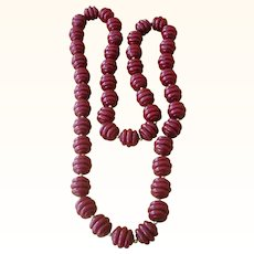 Chunky Vintage Galalith Plastic Bead Necklace 36 inches Long