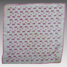 Mid-Century Moderne Silk Hankie Handkerchief Pink Dogs