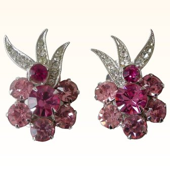 Vintage Eisenberg Ice Clip Earrings Rosy Pink Rhinestones