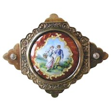 Unique Antique Pin Guilloche Enamel French Courting Scene in 14K Yellow Gold Diamonds on Sides