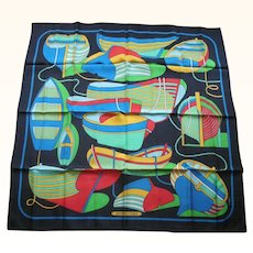 Authentic Hermes France Silk Twill Scarf Row Boats Design Etriers