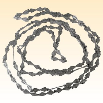 Vintage Silver Long Filigree Link Chain Necklace