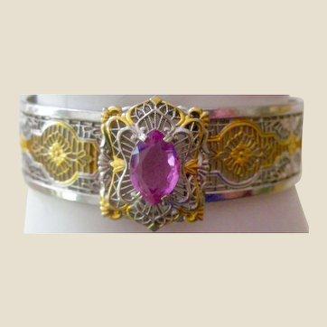Vintage Filigree Bangle Bracelet Buckle Front with Pink Crystal