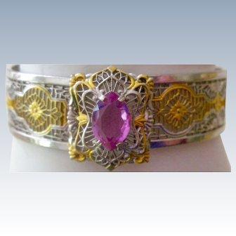 Vintage Filigree Bangle Bracelet Buckle Opening with Pink Crystal