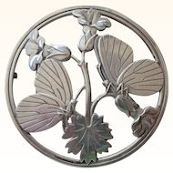 Superior Vintage Georg Jensen Denmark Pin Large Round with Flowers and Butterflies
