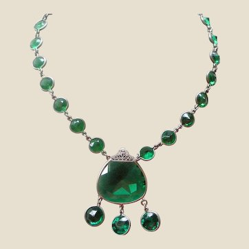 Art Deco Necklace FINE Green Crystals in Sterling Silver with Dangles MAKE AN OFFER