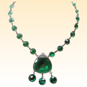 Art Deco Necklace Green Crystals in Sterling, Large Center with Dangles