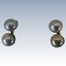 Gray Cultured Pearl Earrings set in 14K Gold