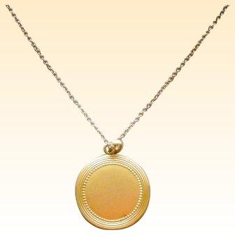 Lovely Vintage Locket Round Bright Gold Filled