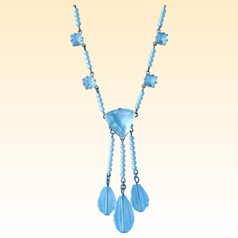 Precious Deco Necklace Faux Pearl and CLEAR Crystal Dangles