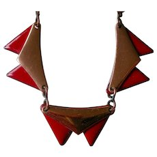 Mid-Century Matisse Necklace Red Enamel and Copper Triangles Adjustable Length