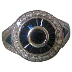 Deco Style Ring Sapphires and Diamonds Circles 18K White Gold
