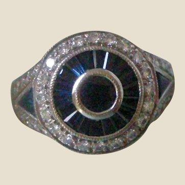 Deco Bullseye Style Ring Sapphires and Diamonds Circles 18K White Gold SALE!