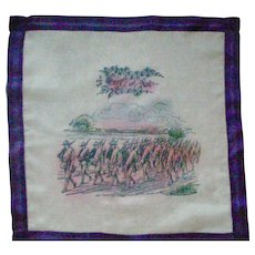 RARE World War I Silk Handkerchief Hanky with Uniformed Soldiers