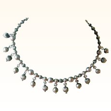 Delightful Sterling Silver Bead Dangle Collar Necklace