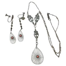 Art Deco Etched Crystal, Sterling Silver and Coral  Pendent and Earrings SPECIAL HOLIDAY PRICE