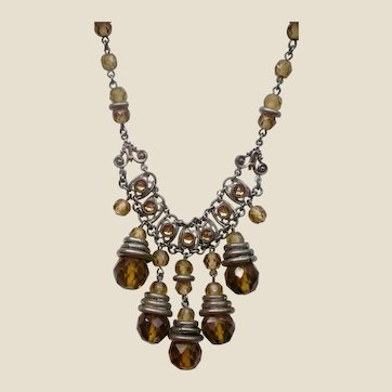 Fabulous Art Deco Topaz Bead and Silver Necklace with Dangles MAKE AN OFFER