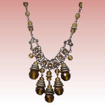 Fabulous Deco Topaz Bead and Silver Necklace with Dangles
