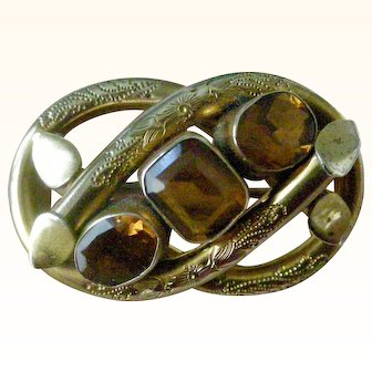 Classic Victorian Gilt Pin Snake Border with Citrine Yellow/Gold Crystals