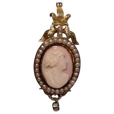 Antique Yellow Gold Book Chain with Cameo Pearl Locket and Diamond Drop Necklace