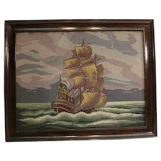 Vintage Original Wood Frame Ocean Ship Needlepoint
