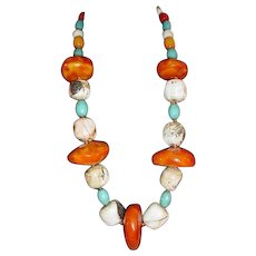 Mixed Blue Egg Trade Beads Copal Chank Sterling Necklace