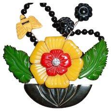 Assembled Vintage Carved Bakelite Trembler Flower Butterfly Necklace Pin