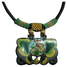 Silk wrapped China Antique Cloisonne Sash Buckle Necklace