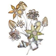 Huge Large Dimensional Vintage Assembled Sterling Flower Pin