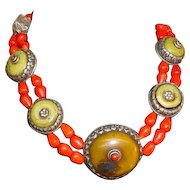 Antique Sterling Tibetan Coral Wedding Collar Bead Necklace