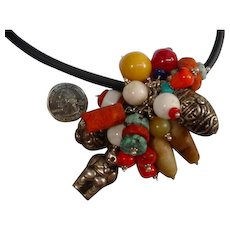 Sterling Assembled Vintage Tibet China Bead Necklace