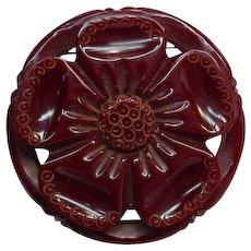 Vintage Carved Pierced Bakelite Maroon Flower Pin