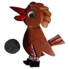 Vintage Carved Wood Rooster PIn