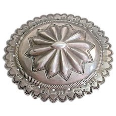 Large Assembled Antique Silver Concho Belt Buckle Pin