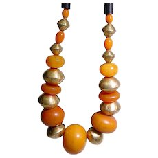 Original Stacey Porter Amber Copal Trade Bead Necklace
