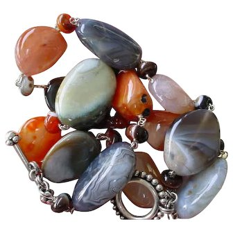 Sterling Banded Agate Nugget Necklace