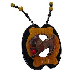 Assembled Vintage Bakelite Carved Wood Terrier Dog Onyx Necklace
