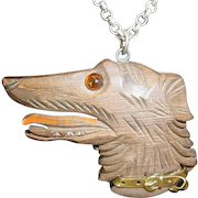 Assembled Vintage Carved Wood Dog Necklace