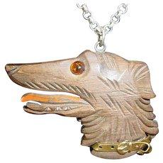Assembled Vintage Carved Wood Dog Necklace