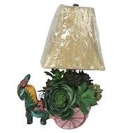 Vintage Italian Majolica Donkey Cart TV Lamp