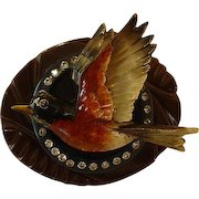 Assembled Sterling Vintage Bakelite Wood Flying Robin Bird Pin