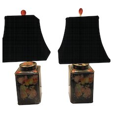Pair of Victorian Tea Caddies Table Lamps