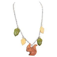 Assembled Vintage Sterling Carved Bakelite Wood Squirrel Leaf Acorn Necklace