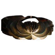 Hefty Vintage Carved Black Bakelite Bangle